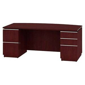 Bush Milano2 Collection Bow Front Double Pedestal Desk 72