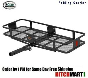 Trailer Hitch Mount Folding Cargo Rack Basket Carrier 60 X 20 X 6 Fits 2 18151