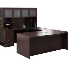 Mayline Aberdeen Executive U shaped Desk 72 W glass Door Hutch Package
