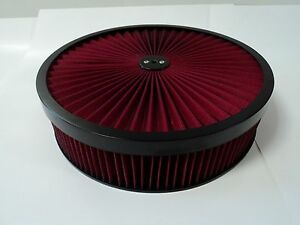 14 X 3 Round Red High Flow Thru Washable Air Cleaner Drop Base Lid Extreme 350