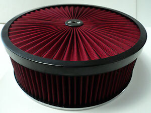 14 X 4 Round Red High Flow Thru Washable Air Cleaner Drop Base Lid Extreme 350