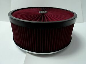 14 X 5 Round Red High Flow Thru Washable Air Cleaner Flat Base Lid Extreme 350