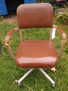 Vintage Mid Century Industrial Office Chair Brown