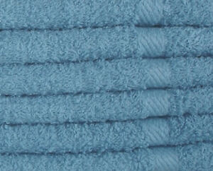 60 New Classic Blue Washcloths 12 x12 100 Cotton Ringspun Soft Absorbent