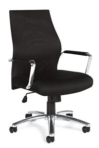 Lot Of 6 Black Mesh Conference Room Table Chairs