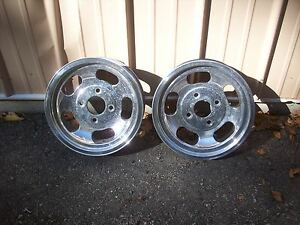 Vintage 1960 S 15 X 4 5 Us Indy Mags 4 Lug Polished Alum Slot Skinny Wheels Pair