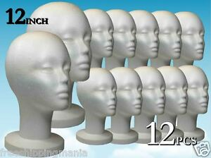 Wig Styrofoam Head Foam Mannequin Display 12 12pcs
