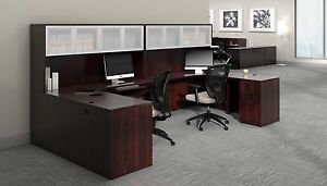 2 Person Contemporary Laminate Workstation Office Desk In Mahogany Finish