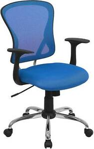 Lot Of 12 Mid back Blue Mesh Office Chair With Chrome Finished Base