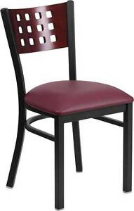 Lot Of 20 Black Decorative Cutout Back Metal Restaurant Chair Mahogany Wood