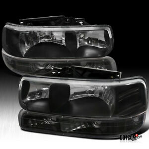 99 02 Silverado Headlights W Bumper Lamps Combo Black