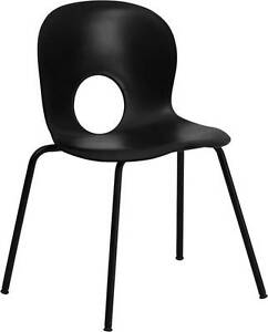 Lot Of 20 Designer Black Plastic Stack Chair W Black Powder Coated Frame Finish