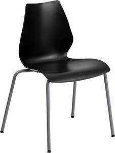 Lot Of 20 Black Stack Chair With Lumbar Support And Silver Frame