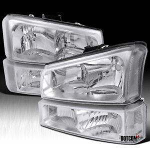 Fit 2003 2006 Chevy Silverado Crystal Clear Headlights Bumper Lamps Left Right