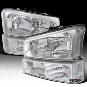 2003 2006 Chevy Silverado Crystal Clear Headlights W Bumper Lamps Left right