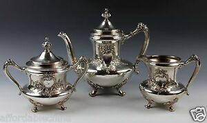 Reed Barton Pre 1928 Silverplate Coffee Pot Sugar Bowl And Creamer Set 3643