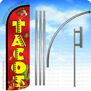 Tacos Windless Swooper Feather Flag Kit Banner Sign Rq