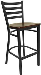 Lot Of 6 Black Ladder Back Metal Restaurant Bar Stool Mahogany Wood Seat