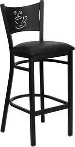 Lot Of 6 Black Coffee Back Metal Restaurant Bar Stool Black Vinyl Seat