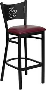 Lot Of 6 Black Coffee Back Metal Restaurant Bar Stool Burgundy Vinyl Seat