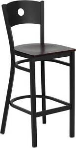 Lot Of 6 Black Circle Back Metal Restaurant Bar Stool Mahogany Wood Seat