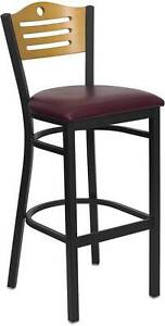 Lot Of 6 Black Slat Back Metal Restaurant Bar Stool Wood Back Burgundy Seat
