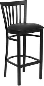 Lot Of 6 Black School House Back Metal Restaurant Bar Stool Black Vinyl Seat