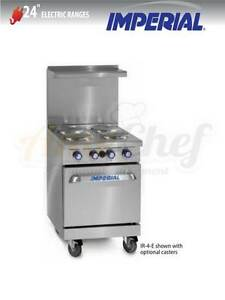 New 24 Electric Commercial Range 4 Plates 1 Oven Imperial Ir 4 e