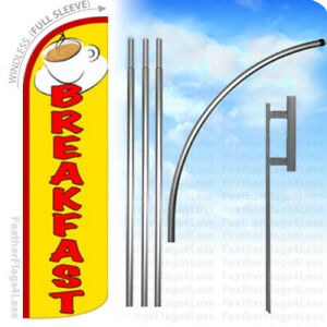 Breakfast Windless Swooper Flag Kit Feather Banner Sign Yq