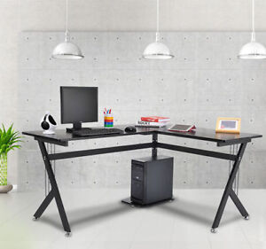 L shape Corner Computer Desk Pc Wood Laptop Table Workstation Home Office Black