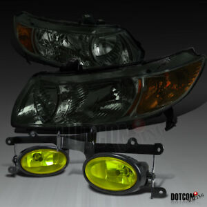 For Honda 2006 2008 Civic 2dr Coupe Smoke Diamond Headlights yellow Fog Lights