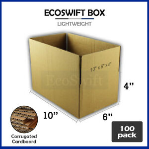 100 10x6x4 Cardboard Packing Mailing Moving Shipping Boxes Corrugated Box Carton