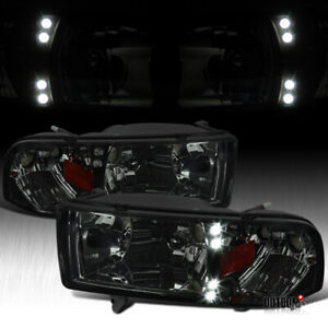 For 1994 2001 Dodge Ram 1500 2500 3500 Pickup Led Smoke Headlights Head Lamps