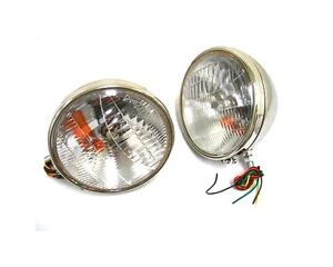 Nice Lights 1933 1934 Ford Car Stainless Headlights W Turn Signal Complete Pair