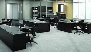 6 Contemporary Laminate Espresso Finish L shape Office Desks With 1 Pedestal