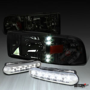 For 1994 2001 Dodge Ram Pickup Led Smoke Lens Headlights 6 Led Bumper Fog Lamps