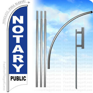Notary Public Windless Swooper Flag Kit Feather Banner Sign Set 15 Bb