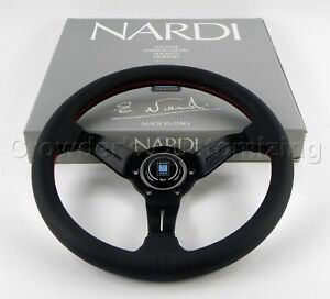 Nardi Steering Wheel Deep Dish Corn Racing 330mm Black Perf Leather Classic Horn