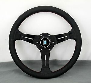 Nardi Steering Wheel Deep Dish Corn Racing 330mm Black Perf Leather Type A Horn