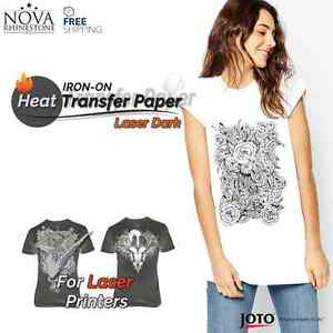 New Laser Iron on Heat Transfer Paper For Dark Fabric 10 Sheets 8 5 X 11