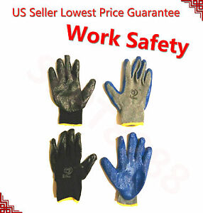 240 Pair Black Gray Heavy Duty Pemium Latex Rubber Palm Coated Work Gloves Br Xl