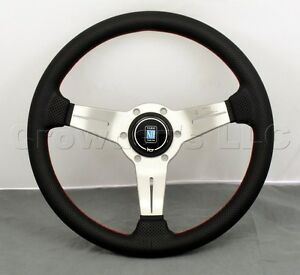 Nardi 330mm Deep Dish Corn Steering Wheel Black Perf Leather White Type A Horn