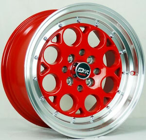 4 Drift Dr5 Wheels 15x8 25 Offset 4x100 Red Civic Si Del Sol Fit Prelude J