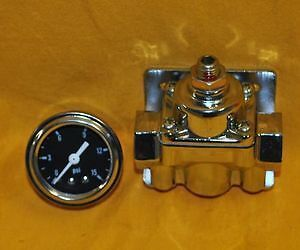 Adjustable Fuel Pressure Regulator Chrome Gauge Dual Port 4 9 Psi