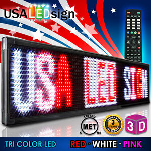 Led Sign 3color 91 x28 Rwp Programmable Scrolling Outdoor Message Display Open