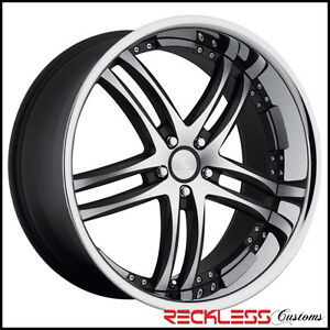 20 Concept One Rs 55 Staggered Wheels Black Machined Chrome Lip Fits Acura Tsx