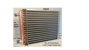 24x24 Water To Air Heat Exchanger 1 1 4 Copper Ports W Ez Install Front Flange