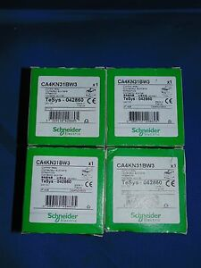 Schneider Electric Ca4kn31bw3 Control Relay 24v Dc Lot Of 4 New