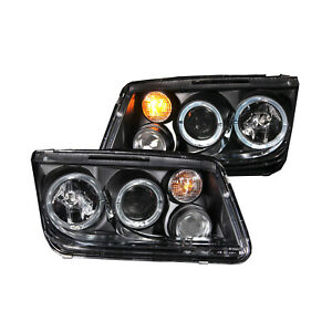 Anzo 121369 Set Of 2 Black Halo Projector Headlights For 1999 5 2005 Vw Jetta