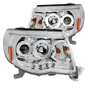 Anzo 121281 Set Of 2 Chrome Ccfl Halo Projector Headlights For 05 11 Tacoma